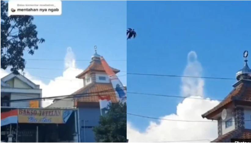 Viral Video Penampakan Awan Putih Berbentuk Manusia (Foto : Instagram/smart.gram)