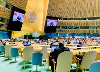 Presiden Joko Widodo dalam pidatonya pada sesi debat umum Sidang Majelis Umum ke-76 PBB, Kamis (23/09/2021) pagi WIB. (Foto: Humas Kemlu)