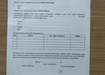 Surat Pernyataan Tanggung Jawab Mutlak (F. 1.05). (Foto: Istimewa)